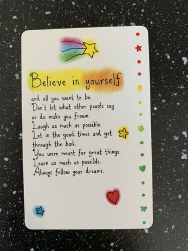 """New Plastic Wallet Card """"Believe In Yourself"""" Blue Mountain CC Free P/&P"""
