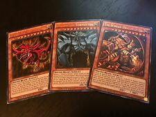 YUGIOH: EGYPTIAN GOD CARDS: OBELISK + SLIFER + RA - ULTRA RARE HOLO SET - LDK2