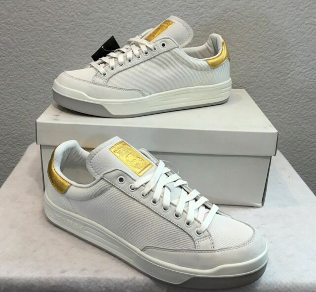 on feet images of latest united kingdom New Adidas Originals Rod Laver Gold Leaf Shoes (Limited) White (S80511) Men  Sz 7
