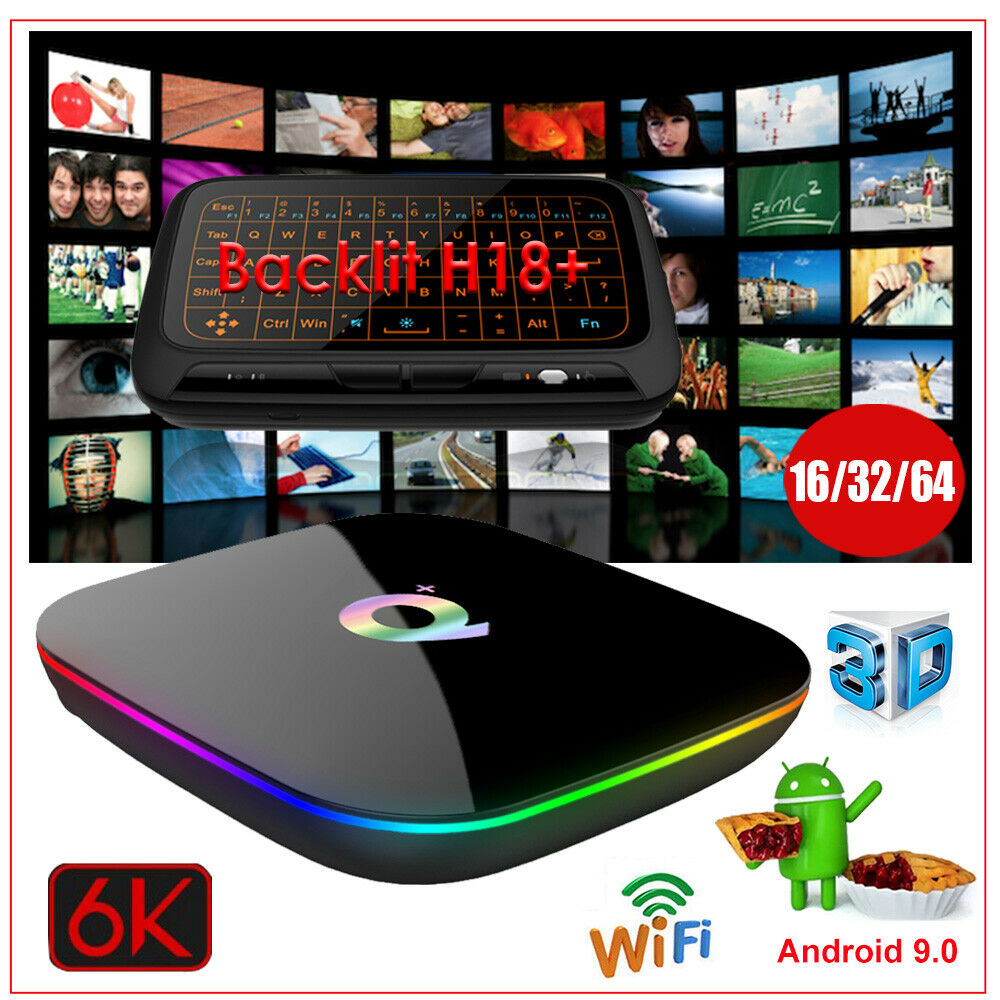 Android 9.0 Pie 16/32/64G 6K Smart TV Box WIFI 3D Media+Keyboard Touchpad MINIPC Featured