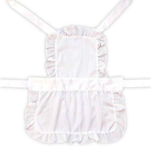 Kids White Victorian Maid pleine longueur cuisson Déguisement Costume Tablier /& Chapeau