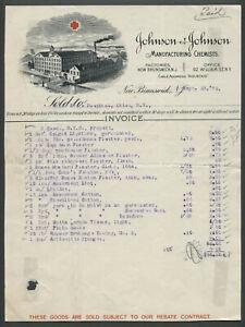 New Brunswick NJ 1892 JOHNSON & JOHNSON MANUFACTURING CHEMISTS Pictorial Invoice