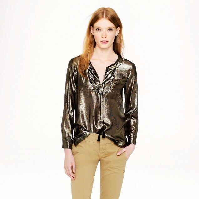NWT Jcrew Gold Lame Blouse 100% silk  Größe 6