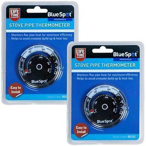 2 X Bluespot Poêle Tuyau Thermomètre Poêle à Bois Cheminée Température Moniteur Suie-afficher Le Titre D'origine Dxjefkno-07165643-664181594