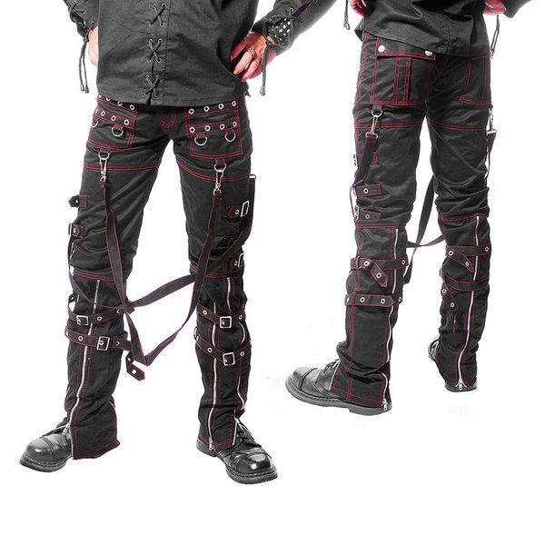 Gothic bondages Pantaloni-nero con cuciture a rossa (5004) dimensioni w28-w40