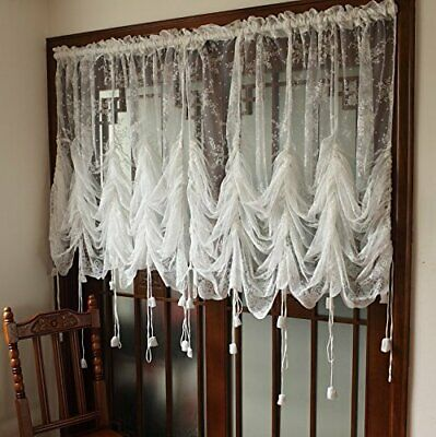 Elegant White Lace Embroidered Sheer Ballon Curtains Adjustable Tie Up 78x59in Ebay