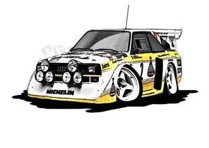 Audi Quattro S1 E2 Group B Rally Caricature Car Cartoon A4