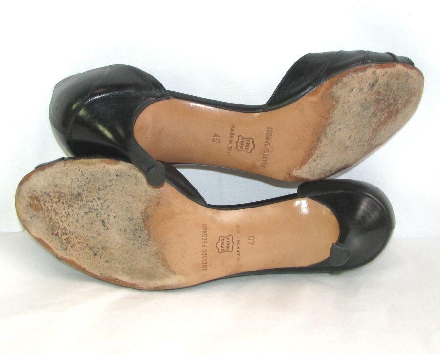 LUCIANO PADOVAN Sandale talons 7 cm tout cuir noir 40 TRÈS BON ETAT