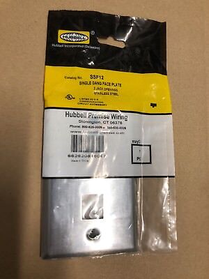 NEW Hubbell Premise Wiring SSF12 Single Gang Stainless Steel Faceplate 2 Port