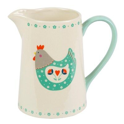 Ceramic Jug / Vase with Country Chic Folk Hen Design by Sass and Belle * Easter