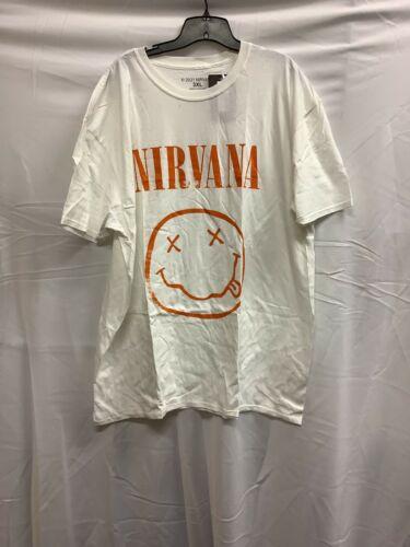 Nirvana Smiley Face Logo Mens White Casual Short S