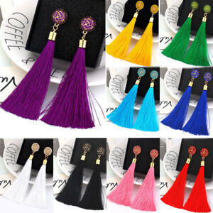 Women Girl Fashion Rhinestone Long Tassel Dangle Earrings Fringe Drop Earrings* Crafts