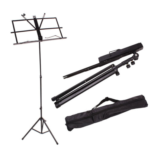Adjustable Folding Music Stand Black w// Carrying Bag Black Durable