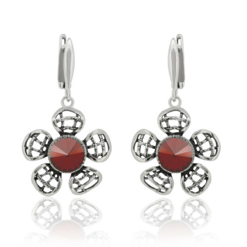 Sterling Silver Flower Earrings Hooks made with 1122 Rivoli Swarovski® Crystals