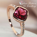 18K Rose Gold Plated Made With Genuine Swarovski Element Stunning Ruby Ring