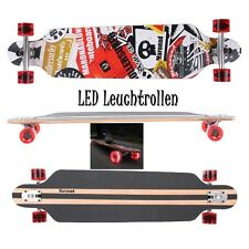 MARONAD ® Longboard Skateboard DROP THROUGH ABEC 11 LED Rollen Leuchtrollen SAT
