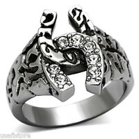 Horse Shoe Seven Crystal Stones Silver Stainless Steel Mens Lucky Ring