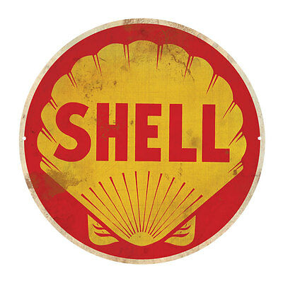 SHELL  PETROLEUM ROUND  TIN SIGN RUSTIC 35cm DIAMETER