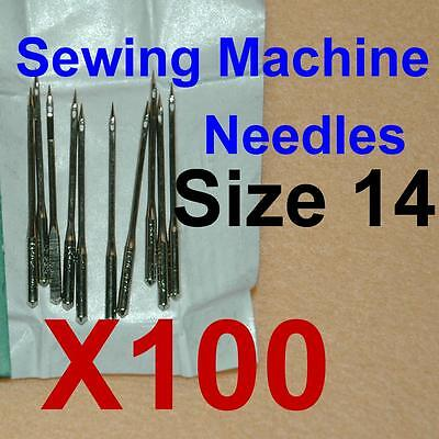 100 Home Sewing Machine Thread Needles HAX1 15X1 for Singer Brother #90/14 Lots