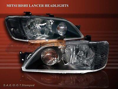 2002 2003 Mitsubishi Lancer Tail Lights JDM Black Lamps