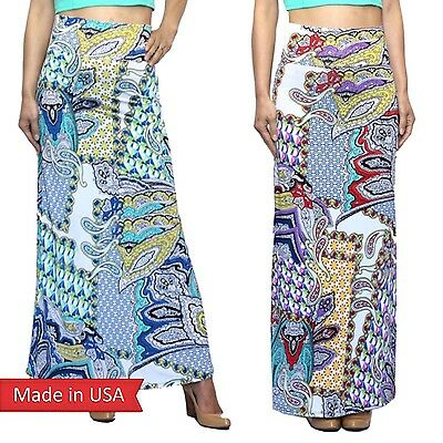 Women Multi Color Blue Red Paisley Geometric Pattern Poly Print Maxi Skirt USA