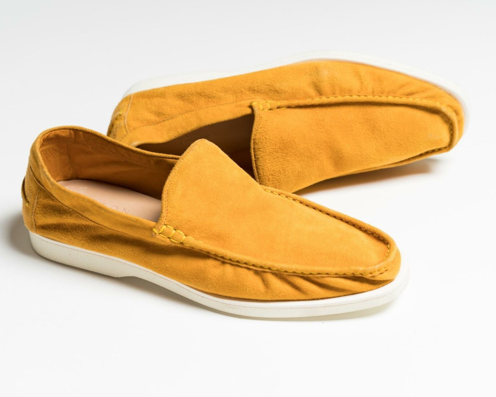Kiton ,695 NIB Yellow Suede Venetian Loafers Rubber Sole Shoes 9 US