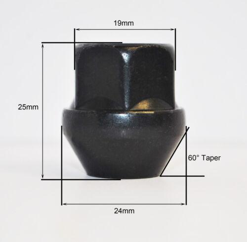 19mm HEX aperta LEGA DADI delle ruote Nero Set di 4 x M12 x 1,5