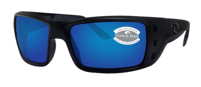 3dbffafd32cb7 Costa Del Mar Permit Blackout Frame Blue Mirror 580P Plastic Polarized Lens