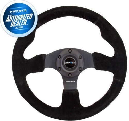 NEW NRG Innovations Race Series Steering Wheel Black Suede Black Spokes RST-012S