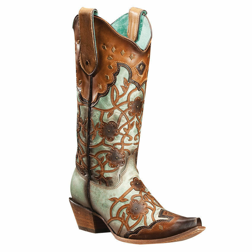 Corral Women's Flowers Overlay & Studded Western Boots Mint/Maple C3176