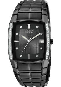 Citizen-Eco-Drive-S-STEEL-Black-Watch-Diamond-Set-BM6645-53E-30M-RRP-699