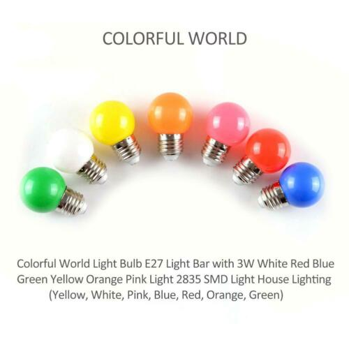 Colorful Globe Light Bulb E27 3W SMD2835 LED Lamp Bar Home Decor Lighting Bulbs
