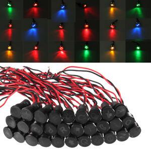 SPIA-LUCE-LED-12V-8MM-Metallo-Simbolo-Auto-Moto-Lampada-Segnale-Indicator-Light
