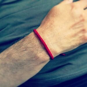 Handcrafted-Fair-Trade-RED-Wax-COTTON-Classic-Thai-Buddhist-WRISTBAND-Wristwear