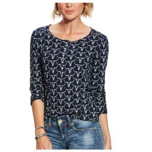 9c1a0bfe 10025475 Ariat REAL Women's Slub Henley Long Sleeve Top NEW   eBay