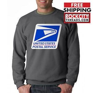 USPS LOGO POSTAL CHARCOAL CREW NECK Sweatshirt Chest United States Service