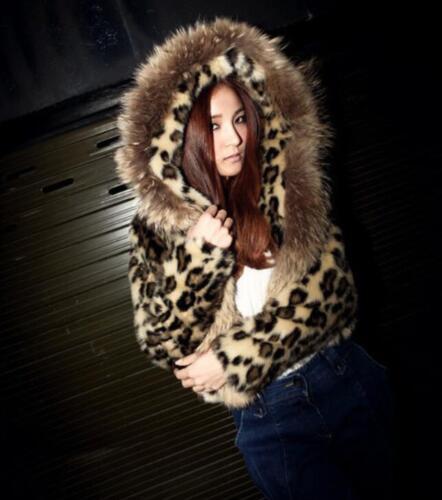 Parka Chic Q1705 Womens Short Varm Hooded Hot Print Coat Jacket Faux Fur RAYnwf