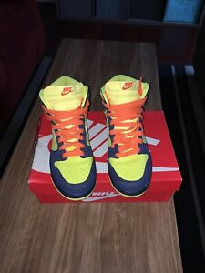 Nike-Dunk-High-2009-034-Homer-Simpson-034-Size-9-M-Volt-Navy-Pre-owned-317982-772