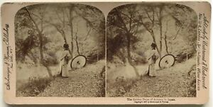 Giappone Japan Donna A L Ombrello Foto Stereo Stereoview Vintage