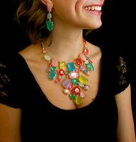Huge Kate Spade York Gumdrop Gems Gold Bib Statement Necklace Amazing
