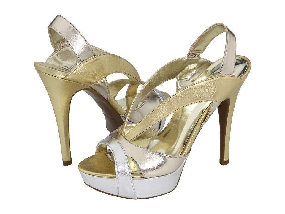 GUESS KISSIME SANDALS GOLD  LEATHER  Sz.. 7.5