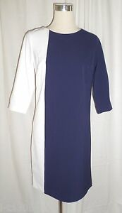 Bleu Marine Et Blanc Couleur Bloc 3 4 Manche Robe Tunique Taille Uk 8 20 Ebay