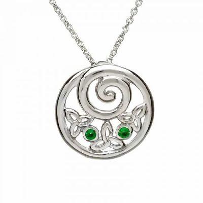 Irische Kette Trinity Knot Rund Silber Mit Grünem Zirkon Neue Sorten Werden Nacheinander Vorgestellt