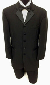 40 R Black 5 button Notch Western Wedding Tuxedo Jacket LONGER STYLE