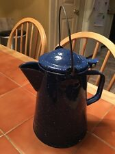 Vtg Blue HandLed Enamelware Speckled Lidded Coffee Pot Pitcher Camping Country