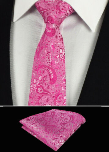 Fuschia Pink Mens Tie Napkin Set Silk Floral Pocket Square Hanky