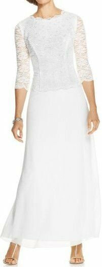 Alex Evenings Dress Sz 6 Ivory Sequined Floral Lace Formal Reception Gown