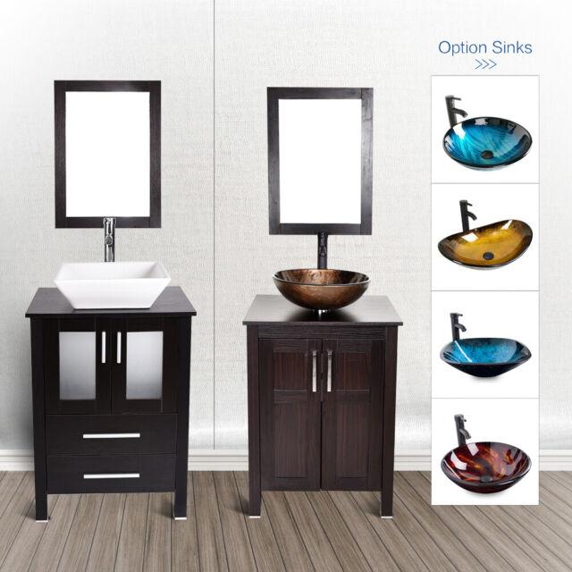24 Bathroom Vanity Floor Cabinet Single Wood Top Vessel Sink Faucet Mirror Set