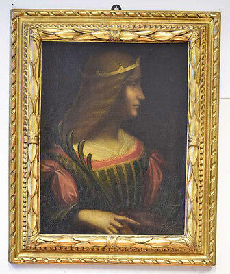 Charming oil painting Leonardo da Vinci - beautiful young womam holding branch