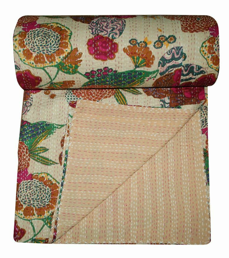 Indian Handmade Kantha Quilt Bedspread Blanket Throw Beige Tropicana 100% Cotton